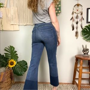 Spanx Two Tone Raw Hem Crop Flare Jeggings Small